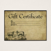 Sheep To Sheep- Prim Gift Certificate Cards