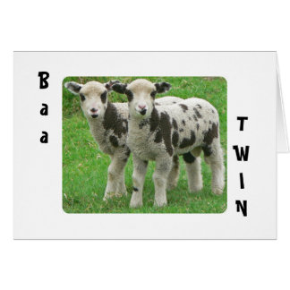 "SHEEP TWINS SAY ""BAA TWIN"" ON BIRTHDAY CARD"