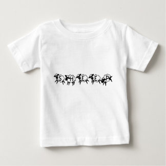 Sheep Typography Funny Cute Black and White Baby T-Shirt
