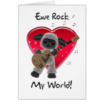 Sheep Valentine's Day Card - Ewe Rock My World