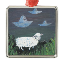 Sheep Waiting for the Alien Ships Metal Ornament