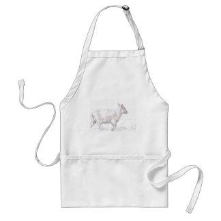 sheep walking pencil sketch apron
