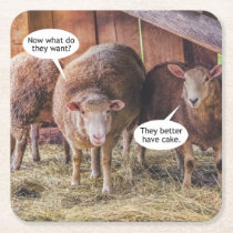 Sheep Want Cake Square Paper Coaster