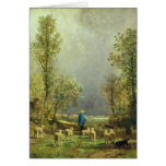 Sheep watching a Storm Greeting Cards