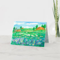 Sheep Wildflower Meadow Happy Birthday Card