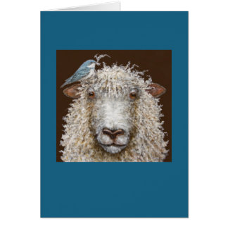 Sheep with Cerulean warbler card