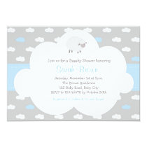 Sheep with Cloud Invitation (Gray Blue)