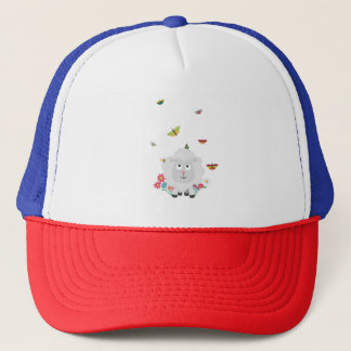 Sheep with flowers and butterflies Z1mk7 Trucker Hat