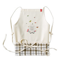 Sheep with flowers and butterflies Z1mk7 Zazzle HEART Apron