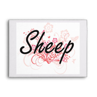 Sheep with flowers background envelopes