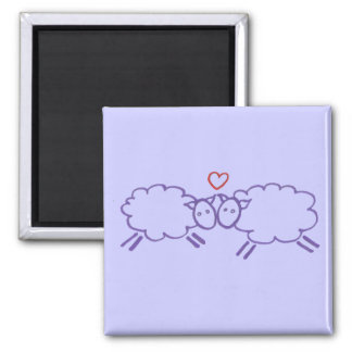 Sheep with Heart 2 Inch Square Magnet