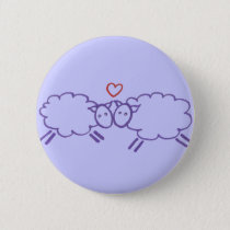 Sheep with Heart Pinback Button