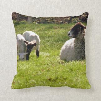 Sheep With Lambs Throw Pillow