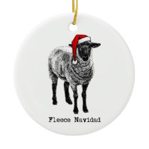 "Sheep with Santa Hat ""Fleece Navidad"" Ceramic Ornament"