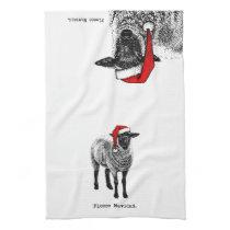 """Sheep with Santa Hat """"Fleece Navidad."""" Hand Towel"""