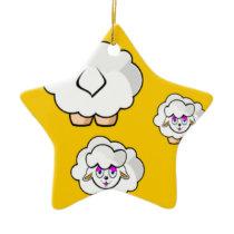 sheep yellow ceramic ornament