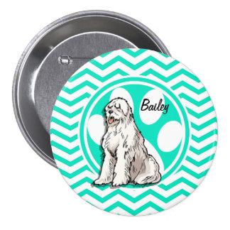 Sheepdog; Aqua Green Chevron Button