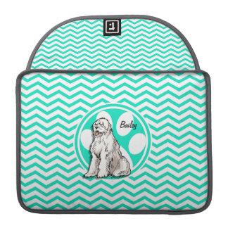 Sheepdog; Aqua Green Chevron Sleeves For MacBooks