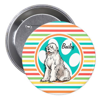 Sheepdog; Bright Rainbow Stripes Pins