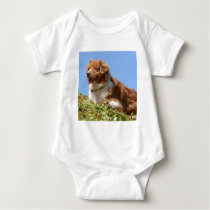 Sheepdog in french Alps Baby Bodysuit