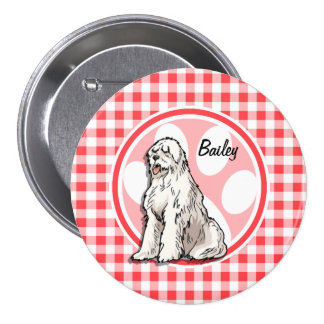 Sheepdog; Red and White Gingham Buttons