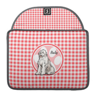 Sheepdog; Red and White Gingham MacBook Pro Sleeves