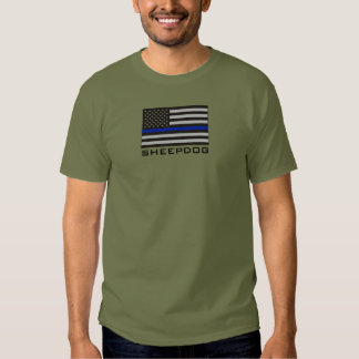 SHEEPDOG with THIN BLUE LINE AMERICAN FLAG Tee Shirt