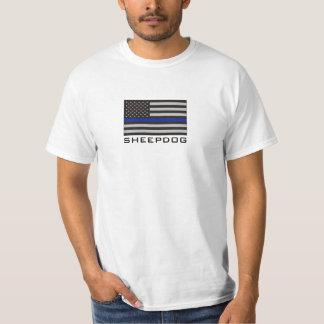 SHEEPDOG with THIN BLUE LINE AMERICAN FLAG Tshirt