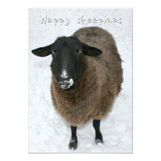 "Sheepmas felices invitación 5"" x 7"""