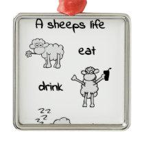 sheeps life monday metal ornament