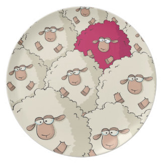 Sheeps Pattern Dinner Plate