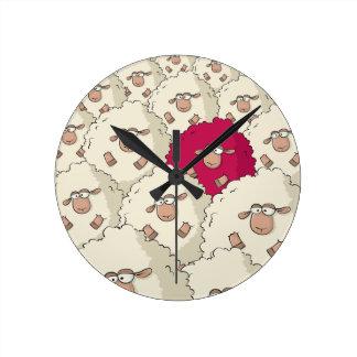 Sheeps Pattern Round Clock