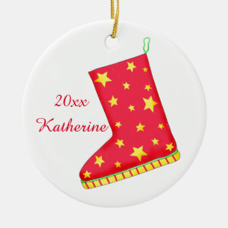 Sheepskin Boot Shoe Lover Christmas Name Double-Sided Ceramic Round Christmas Ornament
