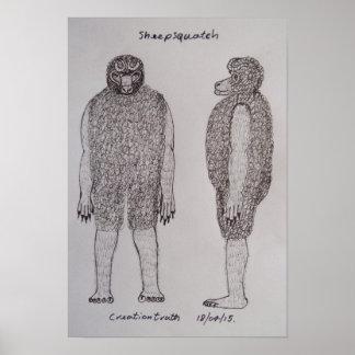 Sheepsquatch bigfoot sketch poster