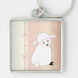 Sheepy On Pink Keychain