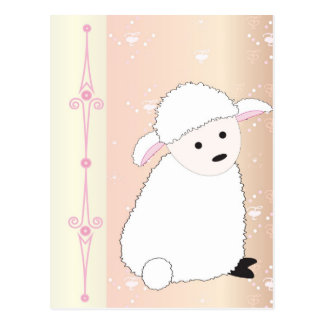 Sheepy On Pink Postcard