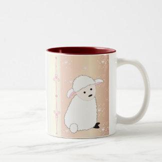 Sheepy On Pink Two-Tone Coffee Mug