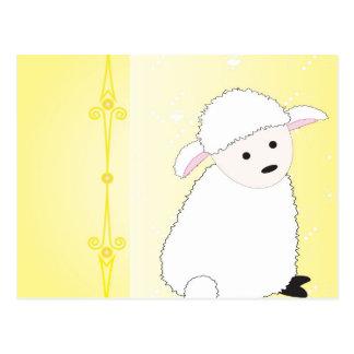 Sheepy on Yellow Postcard