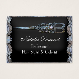 Sheer Chic Vintage Scissor Stylist Business Card at Zazzle