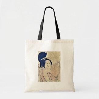 Sheer cloth by Kitagawa, Utamaro Ukiyoe Canvas Bags