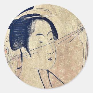 Sheer cloth by Kitagawa, Utamaro Ukiyoe Classic Round Sticker