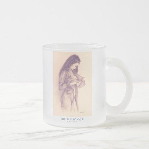 """SHEER ELEGANCE""  Pinup girl frosted coffee mug"