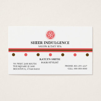 SHEER INDULGENCE SALON & DAY SPA BUSINESS CARD