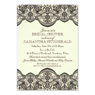 "Sheer Lace Bridal Shower 5"" X 7"" Invitation Card"