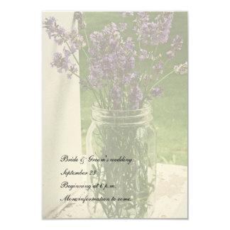 Sheer Mason Jar Lavender White save the date Card