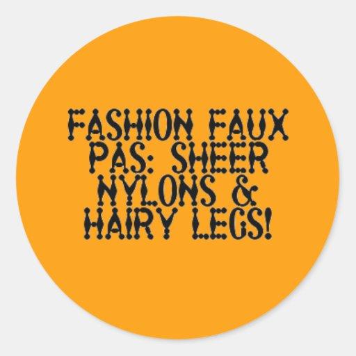 Sheer Nylons, Hairy Legs Classic Round Sticker