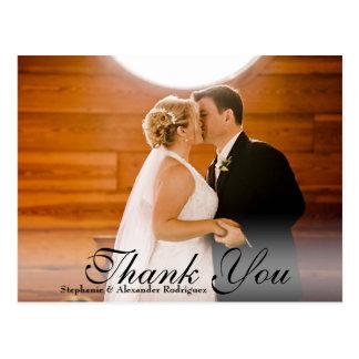 Sheer Overlay White Wedding Thank You Card 1 Photo Postcard