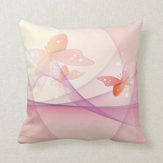Sheer Pink Butterfly Veil American MoJo Throw Pillows