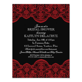 Sheer Red Lace Bridal Shower 2 Card