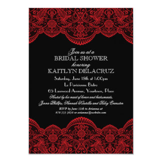 Sheer Red Lace Bridal Shower Card